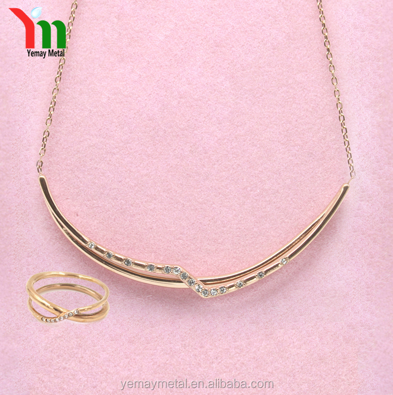 2017 New Design Fashion Bridal Jewelry set gold Plated Necklace and Ring Wedding Jewelry Sets for Women