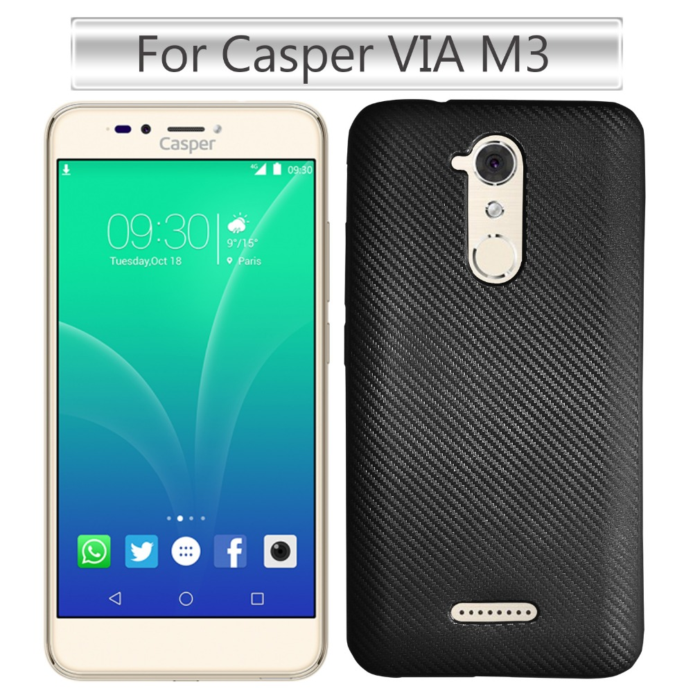 Free Sample Carbon Fiber Texture Phone Case for Casper VIA M3 Back Cover