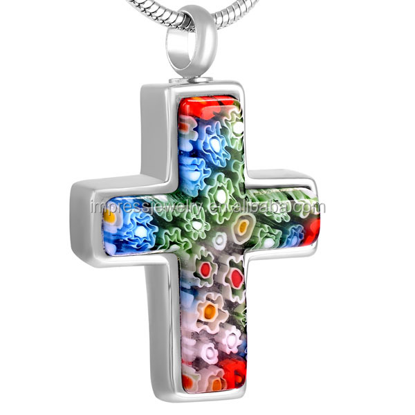 IJD8546 Hot Selling Christian Belief Cross Necklace Stainless steel Murano Glass Cremation Urn Pendants