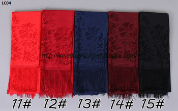 New Fashion Factory Direct Bubble Chiffon Lace Edged Scarf Long Wrap Shawls Plain Headband Scarves Wholesale