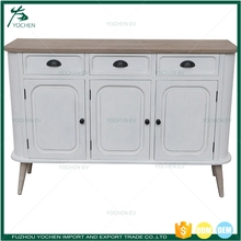 French Cream White Hall Large 3 Doors Wooden Sideboard Buffet