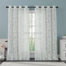 Beautifully crafted floral pattern window curtain white voile lace curtain for living room