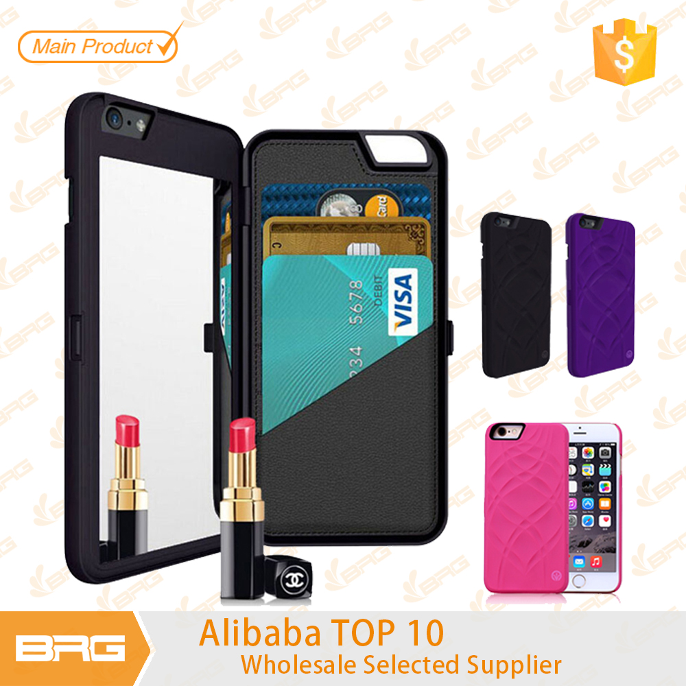 hot mobile phone case cover with wallet card slot mirror for iphone4, for iphone 5, for iphone 6plus