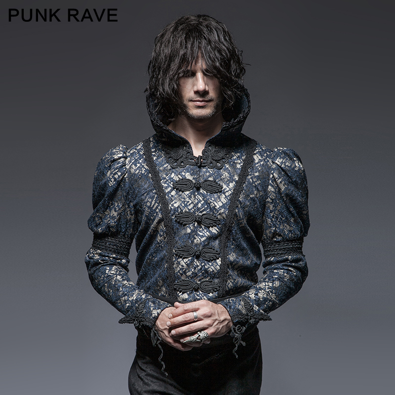 Y-645 Wholesale Gothic stand-up collar male short jacket mens steam punk clothing