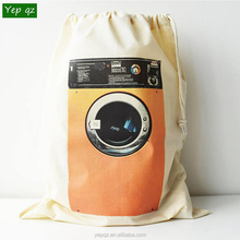 Best selling natural color eco cotton canvas drawstring big cute dirty clothes laundry storage bags with washing machine printed