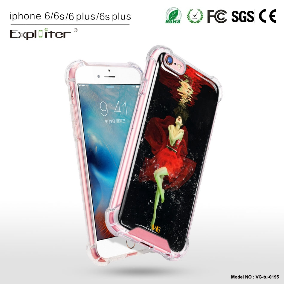 Creative custom design clear durable tpu air sac smart phone case for iPhone 6