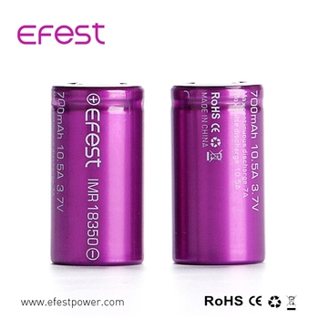In stock wholesale efest high quality purple imr 18350 battery 10.5 A high drain imr purple battery