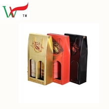 luxury China red gloss lamination wine carrier cardboard box