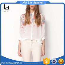 Elegant european style apparel adult women chiffon blouse made in China women clothing