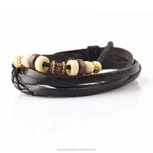 2016 personalized charm cheap wrap leather wood beads and zinc alloy accessaries bracelet for men