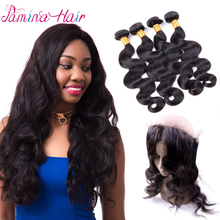 Grade 7A 8A 9A 10A Virgin Peruvian Body Wave Human Hair 3 Bundles With 360 Pre Plucked Lace Frontal Closure