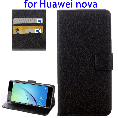 OEM Mobile Phone Accessories Litchi Texture Horizontal Flip PU Leather Case for Huawei nova with Holder and Card Slot