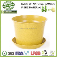 garden supplies natural custumize eco bamboo fibre bio friendly flower pot, bamboo gardon pots