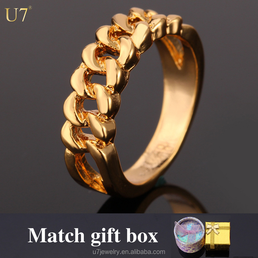U7 5mm 18k Gold Plated signet rings woman men wedding anniversary Unique engagement rings for men retro jewelry party gift