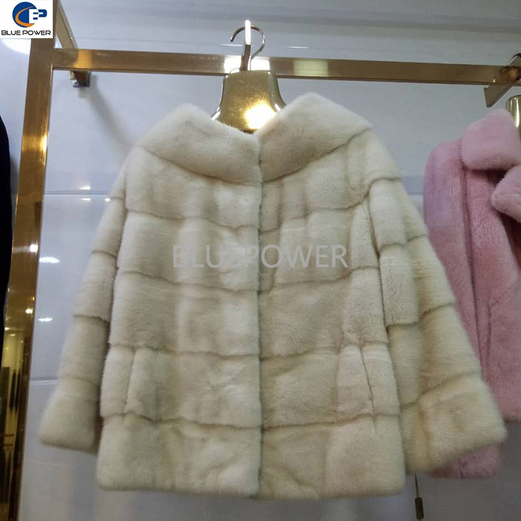 Off white color European Denmark whole hide cheap mink fur short bridal jackets with cross striation design clothes