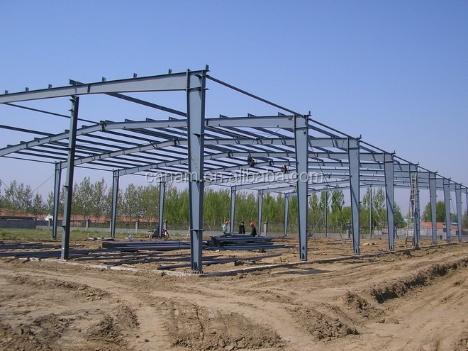 long span warehouse steel structrual warehouse with H beam C purlin