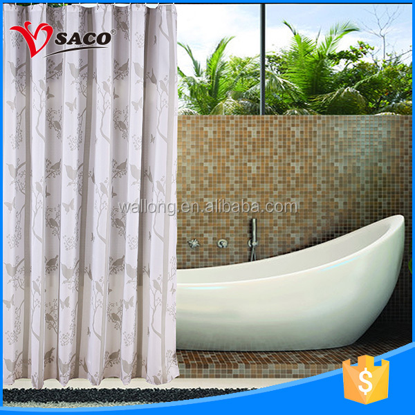 High standard 100 polyester bathroom home design custom shower curtains