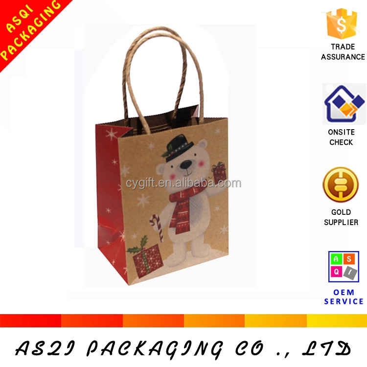 professional printing gift packaging merry christmas natural brown craft paper bag