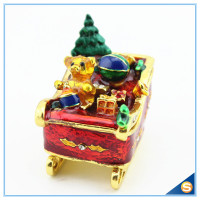 Enamel Craft Cute Bear Trinket Box Crystal Boat Shape Jewelry Box For Festival Gifts SCJ768