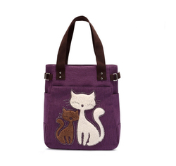 2016 Retro Style Goods Unique Cat Set Auger Manufacture Top Quality Tote Bag Purple Casual Canvas Shopping Travel Shoulder Bag