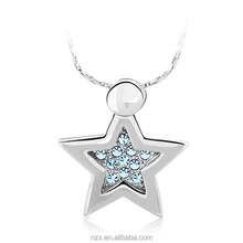 OUXI fashion new design jewelry for girls/star rhinestone pendant/Zinc alloy rhodium plated 10117