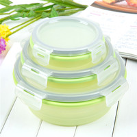Stocked Food Storage folding Containers,Silicon Collapsible Lunch Box,Freezer to Safe 3 pieces round silicone lunch box