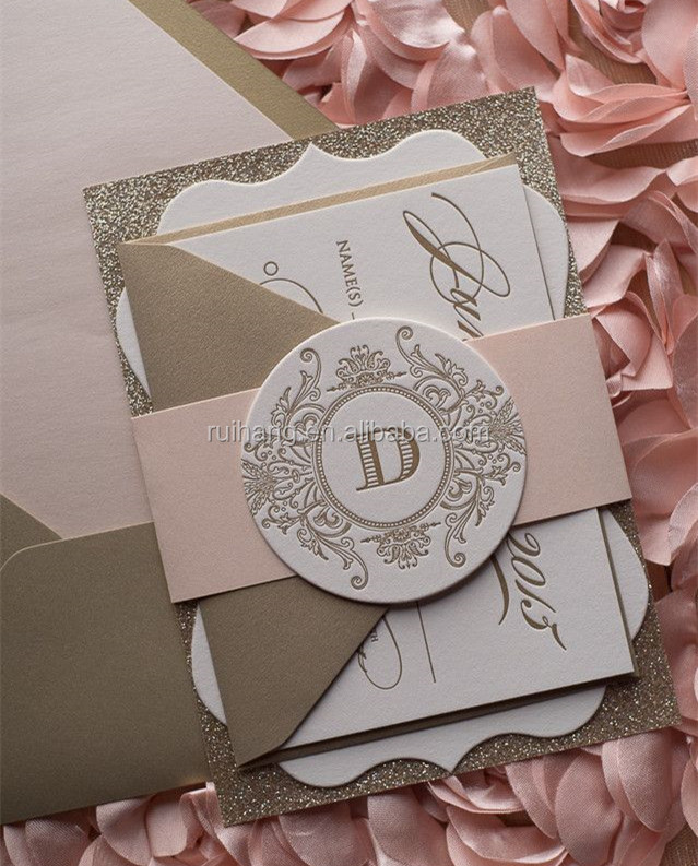 ABIGAIL Suite Fancy Ornate Package die cut fancy shape blush and gold glitter wedding invitation letterpress
