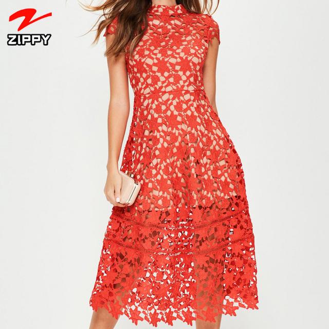 New arrival short sleeve lace midi skater dress/Skater summer Dress for women