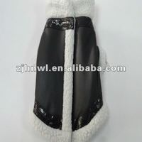 black leather dog coat with Sherpa