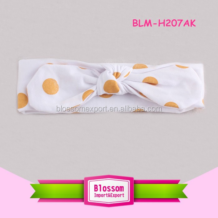 Manufacturers wholesale cotton printed feather baby rabbit ears headband