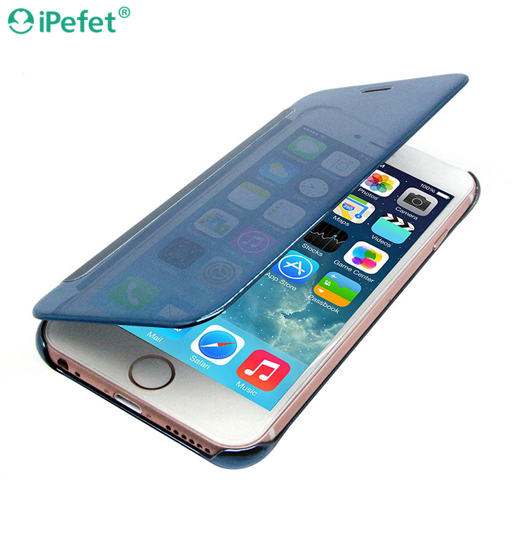 iPefet- Luxury Elegant Smart Flip Ultra Slim View Electroplated Mirror Hard Clear Transparent Phone Case Cover for iPhone 6