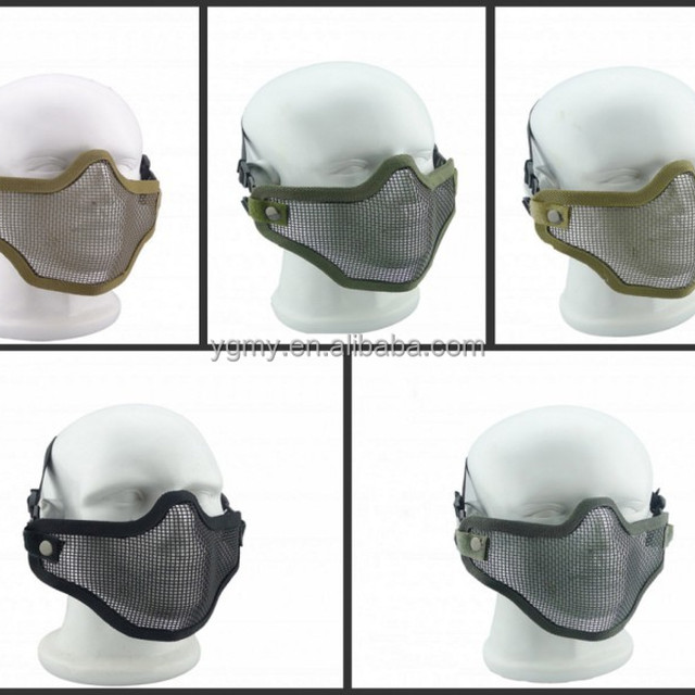 Tactical Airsoft Mask Steel Metal Mesh Lower Half Face Camouflage Mask