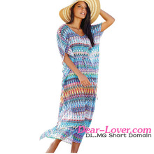Multi Zig Zag Print Maxi Kaftan Beach Dress