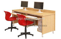 2 Seat Office Table Melamine Wood Design For Modern Office Furniture