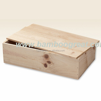 Factory Sale Unfinished wood wine box with sliding lid