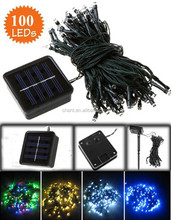 100pcs outdoor decoration neon colorful string lights IP43 pc material solar christmas light with 12m line