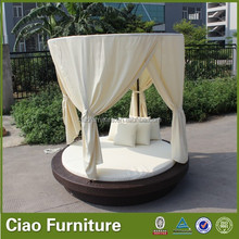 Outdoor all weather rattan round daybed with bed-curtain canopy
