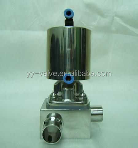 hygienic/sanitary stainless steel 316L aseptic clamp/weld/flange pneumatic 3 three way square body Non retention diaphragm valve