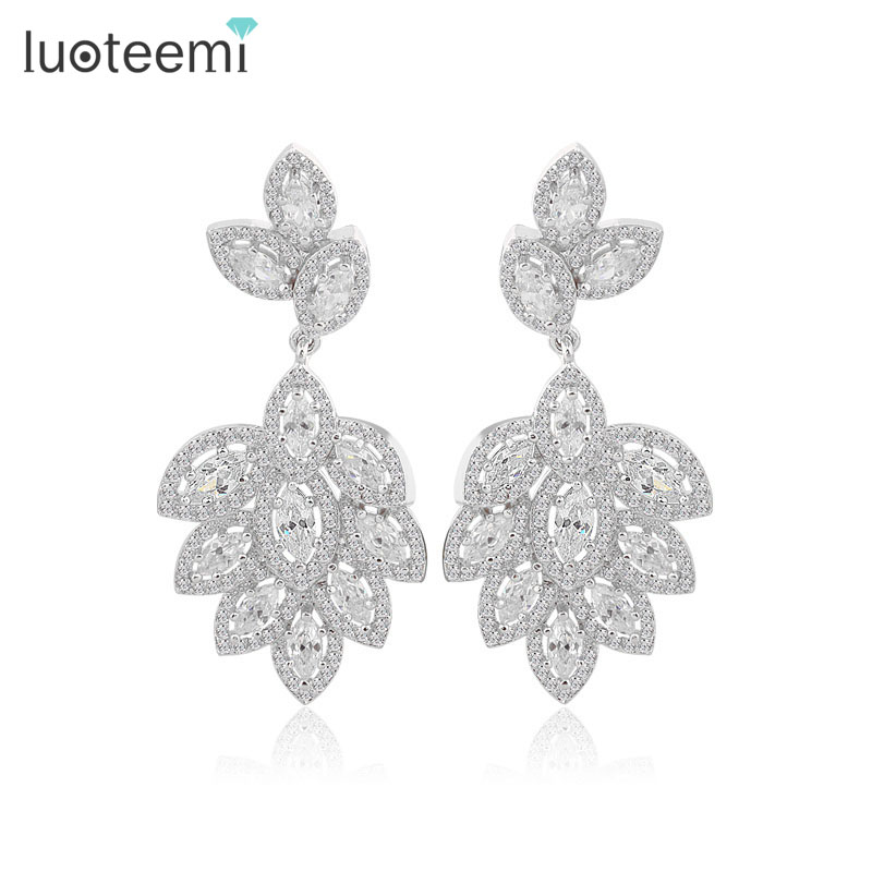LUOTEEMI luxury vintage statement stylish cubic zirconia earring women tops fashion wedding bridal <strong>jewelry</strong>