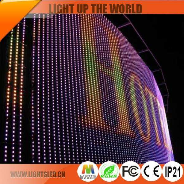P25 Outdoor See Through Thin Flexible Led Display Price,Large Flexible Led Curtain Display Panels