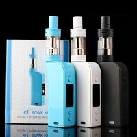 China ECT 100% original temperature control box mod 2600mah 1W-60W ET60WK mini kit with 0.1ohm nickel coil electronic cigarette