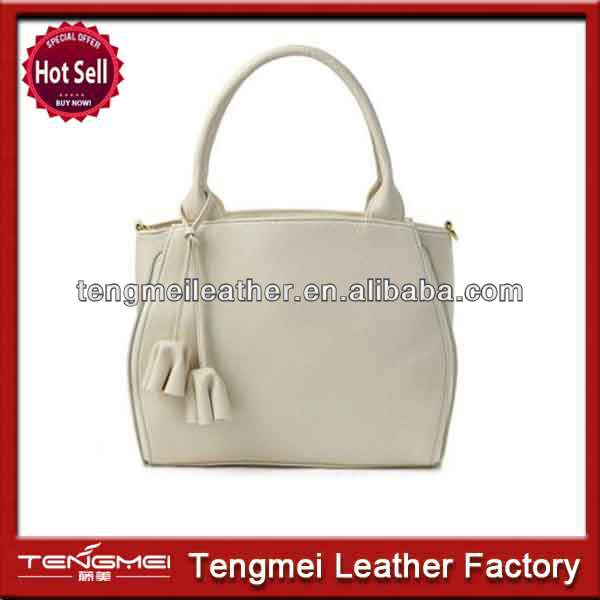 Popular lady lovely white pu leather tote bags.handbags cheap price