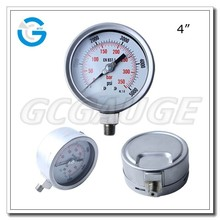 High quality bourdon tube bottom type manometer 400bar