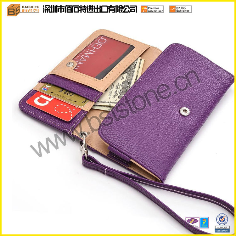 Purple leather cell phone case belt loop with detachable strap, coin zipper Pocket and credit card holder