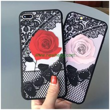 Hot selling lace flower tpu pc phone case for iphone 7 7 plus
