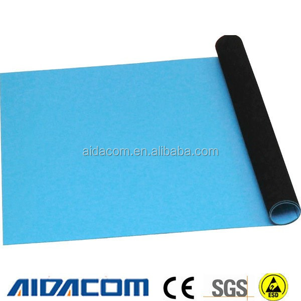 2 layers ESD mat, Dull or shiny antistatic ESD grounding mat