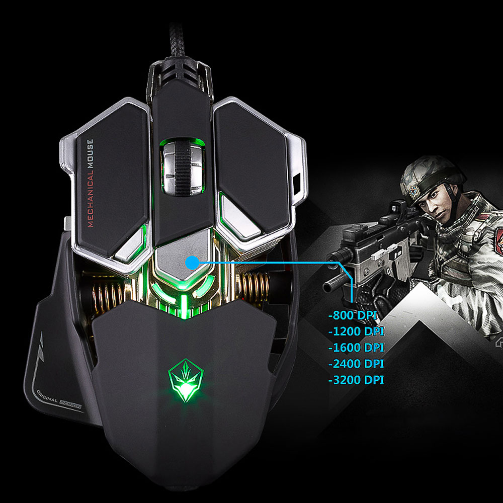 Professional Optical Gaming Mouse 9 Buttons 4 Color Light Emitting USB Wired Mouse Mice Macros 800-4000 Adjustable DPI
