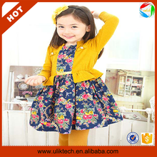 Fashion style floral <strong>girl's</strong> <strong>dress</strong> factory cheap price kids casual <strong>dress</strong> (Ulik-A0370)