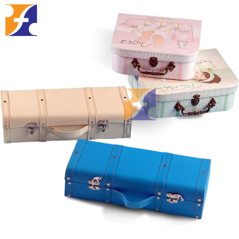 2016 new mini paper cardboard toy suitcase with handle