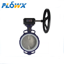 DN200 PTFE Soft seat Cast Iron Worm Gear Operated Wafer butterfly valve